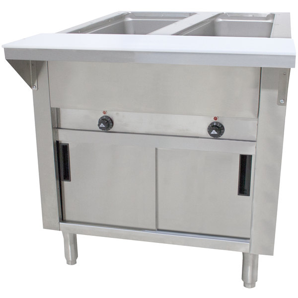 Advance Tabco HF-2E-240-DR Two Pan Electric Hot Food Table with Enclosed Base and Sliding Doors - Open Well, 208/240V