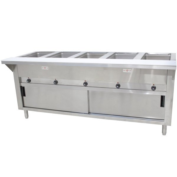 Advance Tabco SW-5E-240-DR Five Pan Electric Hot Food Table with Enclosed Base and Sliding Doors - Sealed Well Main Image 1