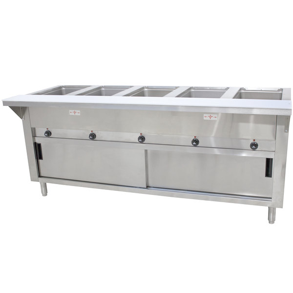 Advance Tabco HF-5E-240-DR Five Pan Electric Hot Food Table with Enclosed Base and Sliding Doors - Open Well