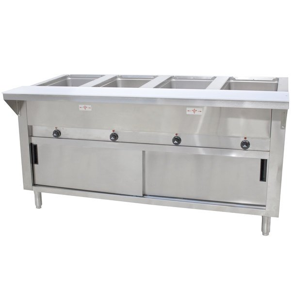 Advance Tabco SW-4E-240-DR Four Pan Electric Hot Food Table with Enclosed Base and Sliding Doors - Sealed Well, 208/240V Main Image 1