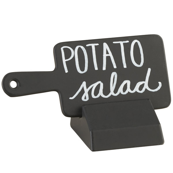 """Cal-Mil 3345-13 Black Write-On Paddle Sign with Stand - 4 1/2"""" x 2"""""""