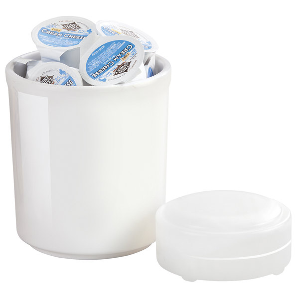 "Cal-Mil 3050-32 32 oz. White Melamine Jar with Cold Puck - 5"" x 5 1/2"""