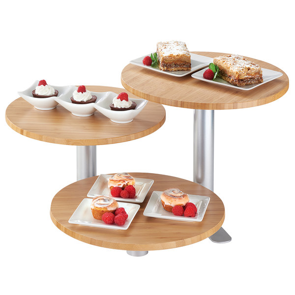 """Cal-Mil 3347-3-60 3-Tier Swivel Display with Round Bamboo Shelves - 12"""" x 11"""" Main Image 1"""