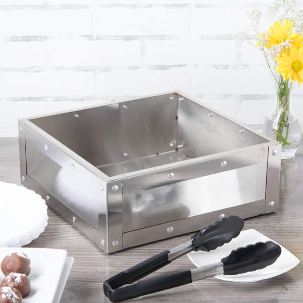 "Cal-Mil 3367-55 Stainless Steel Cold Concept Cooling Base - 12"" x 12"" x 4 1/2"""