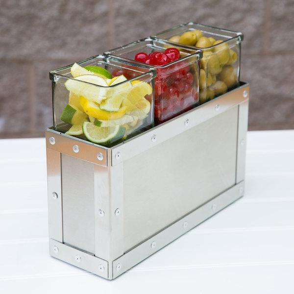 "Cal-Mil 3412-7-55 Urban 7"" Stainless Steel Jar Display with 3 Glass Jars Main Image 4"