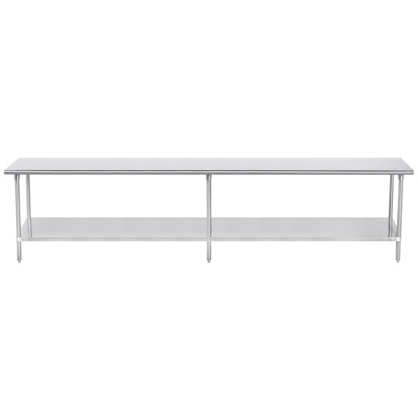 """Advance Tabco SAG-3012 30"""" x 144"""" 16 Gauge Stainless Steel Commercial Work Table with Undershelf"""