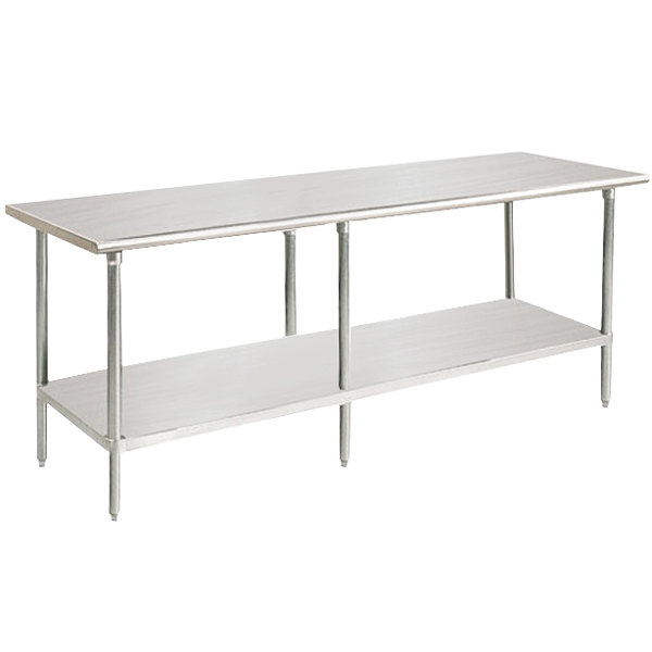 "Advance Tabco SAG-3012 30"" x 144"" 16 Gauge Stainless Steel Commercial Work Table with Undershelf"