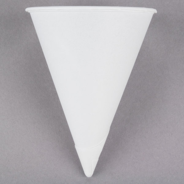 Dart Solo 4R-2050 Bare Eco-Forward 4 oz. White Rolled Rim Paper Cone Cup with Chipboard Box Packaging - 200/Pack