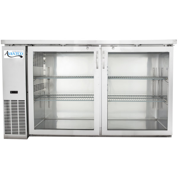 "Avantco UBB-24-60GS 60"" Narrow Glass Door Stainless Steel Back Bar Cooler with LED Lighting"