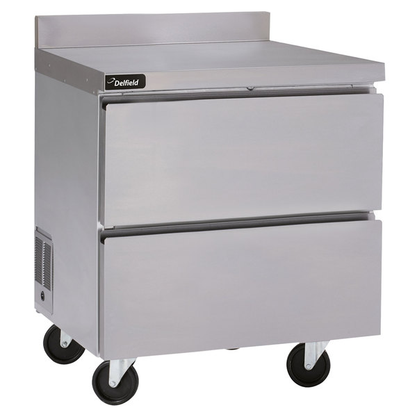 """Delfield GUR27BP-D 27"""" Worktop Refrigerator with Two Drawers and Backsplash Main Image 1"""