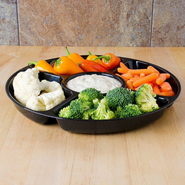 "Fineline Platter Pleasers 3506-BK 12"" 5 Compartment Black Polystyrene Deli / Catering Tray"