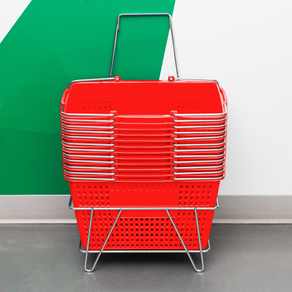 "Red 19"" x 13"" Plastic Grocery Market Shopping Basket Set with Stand"