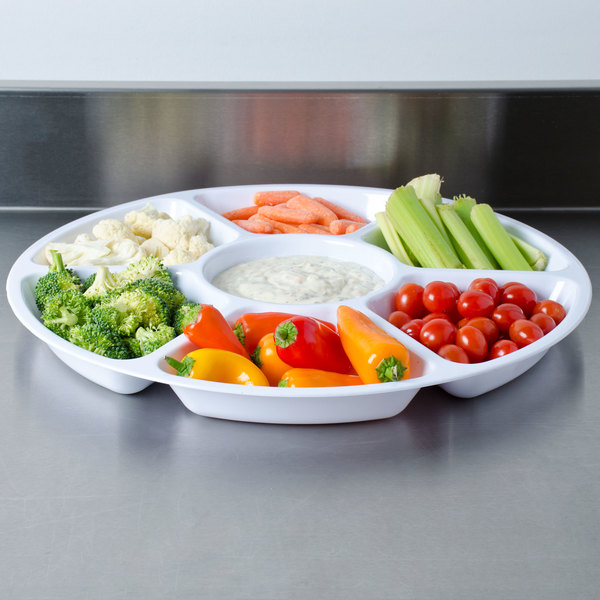 """Fineline Platter Pleasers 3510-WH 16"""" 7 Compartment White Polystyrene Deli / Catering Tray"""