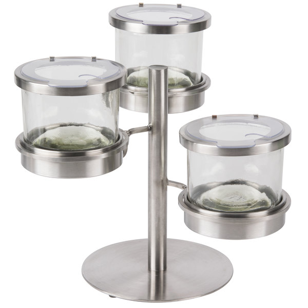 """Cal-Mil 1855-4-55NL Mixology Stainless Steel Tiered 3 Jar Display for 16 oz. Jars with Notched Lids - 14"""" x 11"""" x 11 1/4"""""""