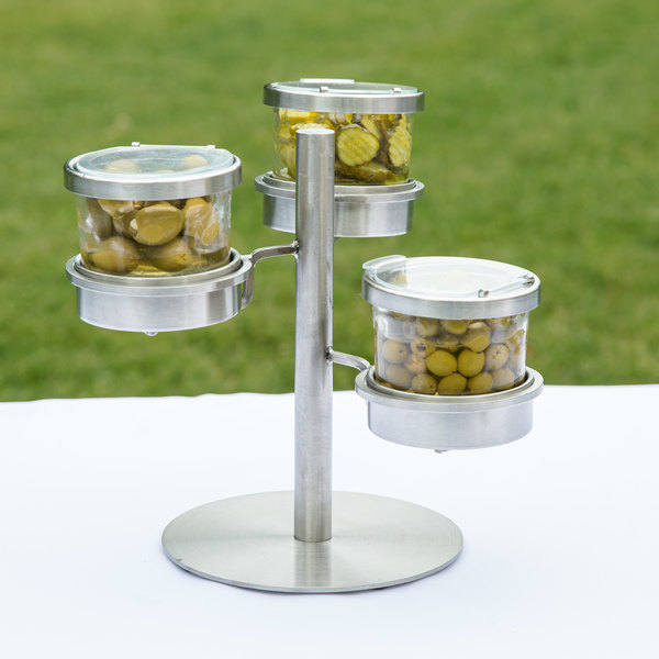 """Cal-Mil 1855-4-55HL Mixology Stainless Steel Tiered 3 Jar Display for 16 oz. Jars with Hinged Lids - 14"""" x 11"""" x 11 1/4"""""""