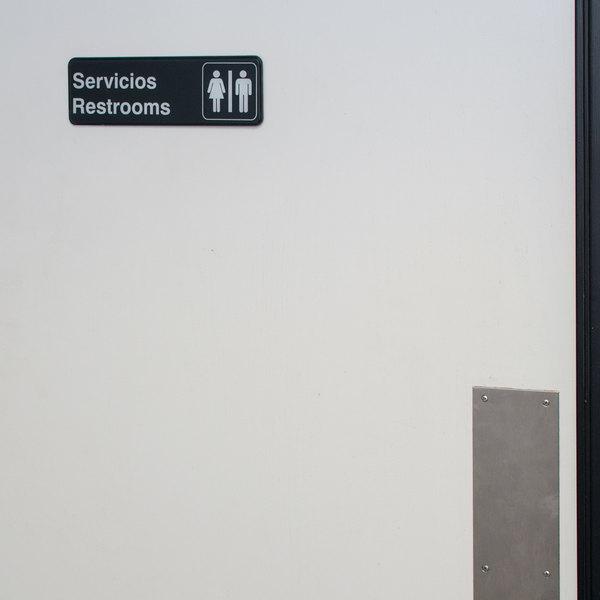 "Tablecraft 394588 Servicios / Restrooms Sign - Black and White, 9"" x 3"""