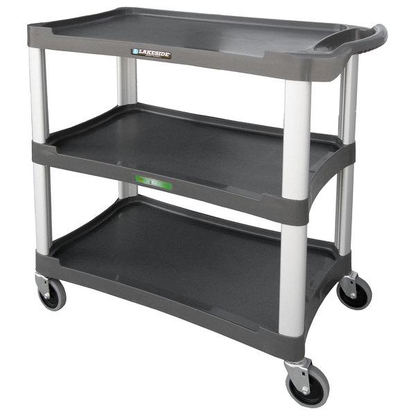 "Lakeside 2503 Standard-Duty Charcoal Plastic Three Shelf Utility Cart - 36"" x 18 1/2"" x 35"" Main Image 1"