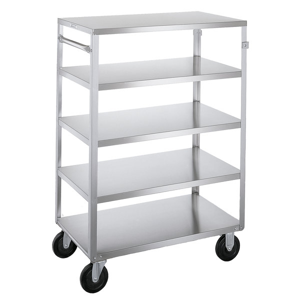 "Lakeside 355 Medium-Duty Stainless Steel Five Shelf Utility Cart with All Edges Down - 32 1/8"" x 19 1/4"" x 45 1/8"""