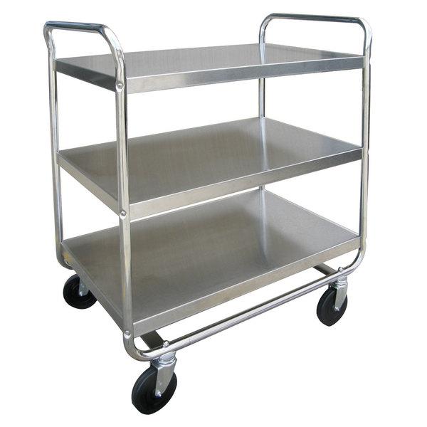 "Lakeside 4944 Heavy-Duty Stainless Steel Three Shelf Handler Series Utility Cart - 39"" x 22 3/4"" x 39 3/8"""