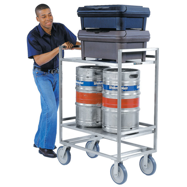 """Lakeside 8840 Extreme-Duty Stainless Steel Two Shelf Square Tube Frame Utility Cart - 35"""" x 21 1/4"""" x 37 7/32"""""""