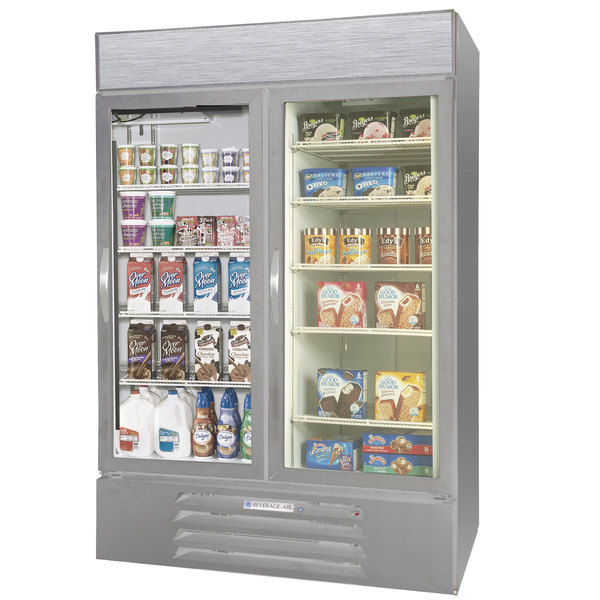 Configuration F Beverage Air Market Max MMRF49-1-SW-LED Stainless Steel Two Section Glass Door Dual Temperature Merchandiser - 49 Cu. Ft.