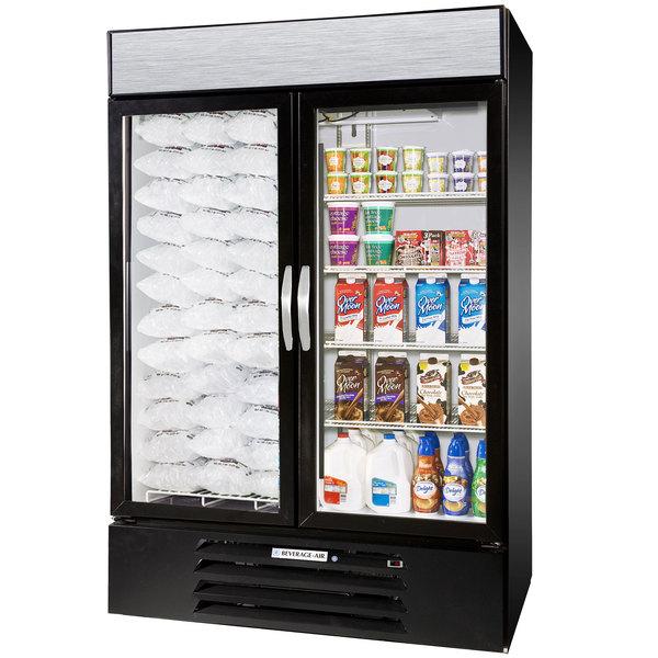 Configuration E Beverage Air Market Max MMRF49-1-BW-LED Black 2 Section Glass Door Dual Temperature Merchandiser - 49 Cu. Ft.