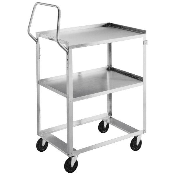 "Lakeside 6800 Medium-Duty Stainless Steel Two Shelf Ergo-One System Utility Cart - 28"" x 16 1/2"" x 44 3/8"" Main Image 1"