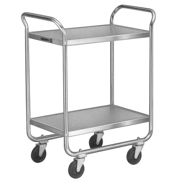 "Lakeside 472 Medium-Duty Stainless Steel Two Shelf Tubular Utility Cart with Chrome-Plated Legs / Frame - 27"" x 17 1/2"" x 35 3/4"""