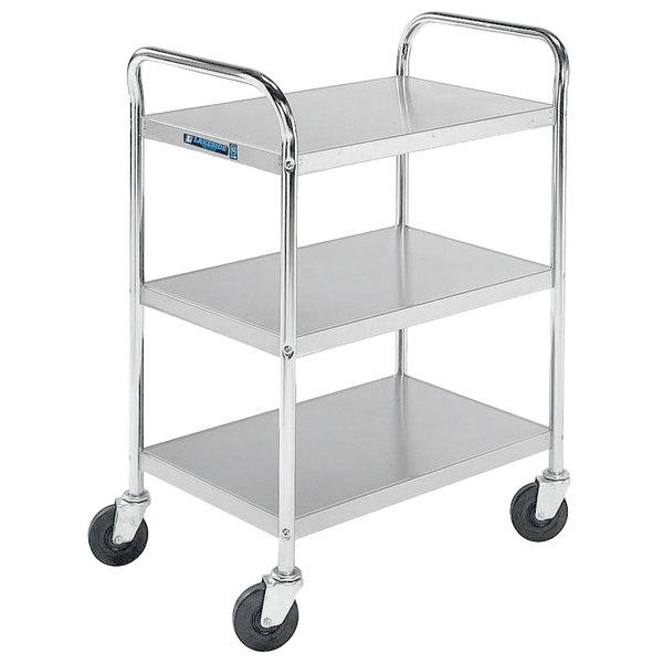 "Lakeside 479 Medium-Duty Stainless Steel Three Shelf Tubular Utility Cart with Chrome-Plated Legs / Frame - 27"" x 17 1/2"" x 35"" Main Image 1"