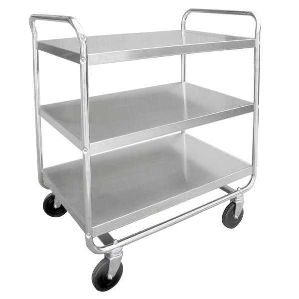 "Lakeside 493 Medium-Duty Stainless Steel Three Shelf Tubular Utility Cart with Chrome-Plated Legs / Frame - 36"" x 23"" x 40 1/8"""