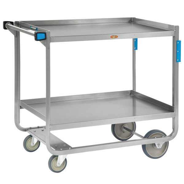 "Lakeside 943 Heavy-Duty Stainless Steel Two Shelf Traditional Utility Cart - 39"" x 22 3/4"" x 37 3/8"""