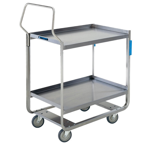 "Lakeside 4959 Heavy-Duty Stainless Steel Three Shelf Handler Series Utility Cart - 55"" x 22 3/4"" x 39 3/8"""