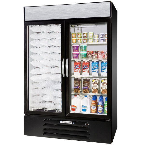 Configuration D Beverage Air Market Max MMRF49-1-BW-LED Black 2 Section Glass Door Dual Temperature Merchandiser - 49 Cu. Ft.