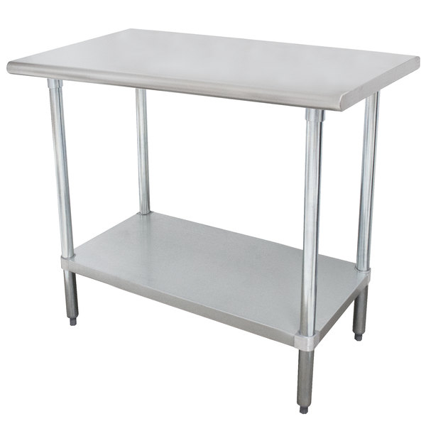 """Advance Tabco SLAG-240-X 24"""" x 30"""" 16 Gauge Stainless Steel Work Table with Stainless Steel Undershelf"""