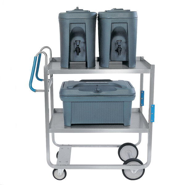 "Lakeside 7120 Heavy-Duty Stainless Steel Two Shelf Ergo-One System Utility Cart - 41 3/8"" x 21 5/8"" x 46 3/4"" Main Image 1"