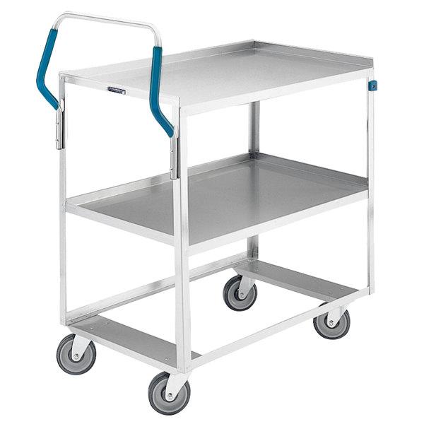 "Lakeside 6820 Medium-Duty Stainless Steel Two Shelf Ergo-One System Utility Cart - 39 1/8"" x 22"" x 44 3/8"" Main Image 1"