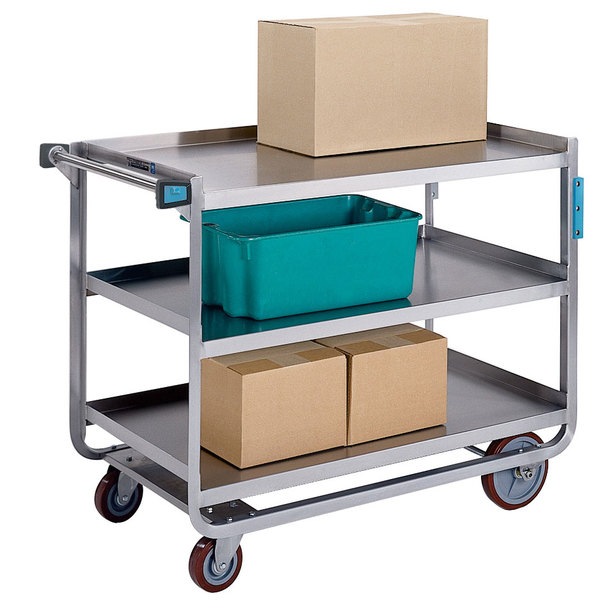 "Lakeside 959 Heavy-Duty Stainless Steel Three Shelf Traditional Utility Cart - 55"" x 22 3/4"" x 37"" Main Image 1"