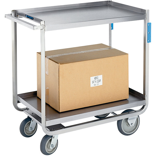 "Lakeside 8820 Extreme-Duty Stainless Steel Two Shelf Angle-Leg Utility Cart - 36 1/2"" x 21 1/4"" x 37 7/32"" Main Image 1"