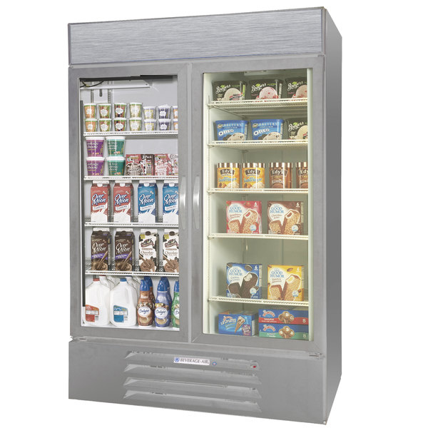 Configuration B Beverage Air Market Max MMRF49-1-SW-LED Stainless Steel Two Section Glass Door Dual Temperature Merchandiser - 49 Cu. Ft.