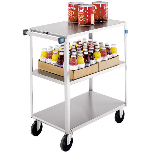 "Lakeside 352 Medium-Duty Stainless Steel Three Shelf Utility Cart with 3 Edges Up and 1 Down - 35"" x 19 3/8"" x 36 7/8"" Main Image 1"