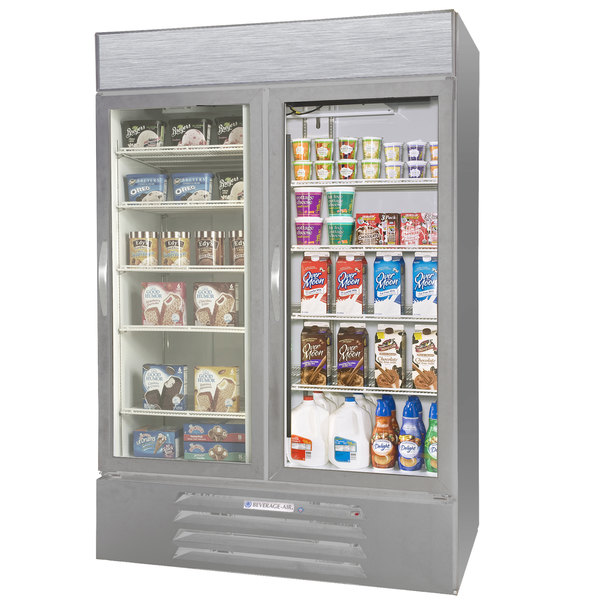 Configuration E Beverage Air Market Max MMRF49-1-SW-LED Stainless Steel Two Section Glass Door Dual Temperature Merchandiser - 49 Cu. Ft.