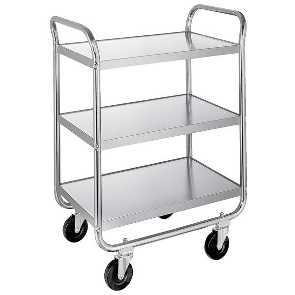 "Lakeside 489 Medium-Duty Stainless Steel Three Shelf Tubular Utility Cart with Chrome-Plated Legs / Frame - 27"" x 20"" x 35"""