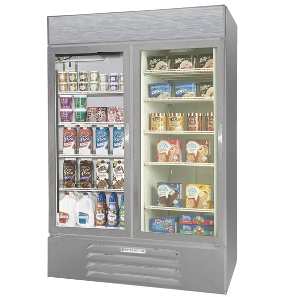Configuration D Beverage Air Market Max MMRF49-1-SW-LED Stainless Steel Two Section Glass Door Dual Temperature Merchandiser - 49 Cu. Ft.