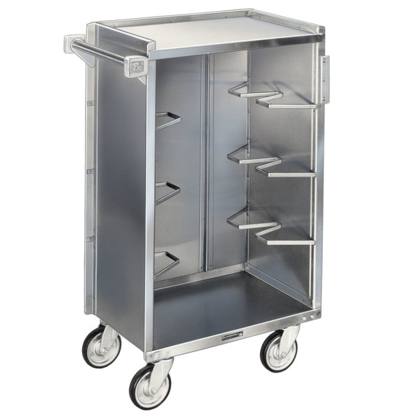 "Lakeside 790 Medium-Duty Stainless Steel Enclosed Bussing Cart with Ledge Rod and Vinyl Finish - 27 3/8"" x 17 5/8"" x 42 7/8"""