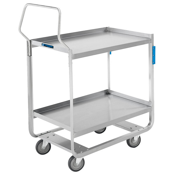 "Lakeside 4943 Heavy-Duty Stainless Steel Two Shelf Handler Series Utility Cart - 39"" x 22 3/4"" x 39 3/8"" Main Image 1"