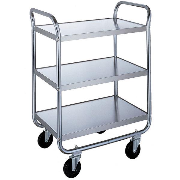 "Lakeside 4939 Heavy-Duty Stainless Steel Three Shelf Handler Series Utility Cart - 33"" x 19 3/4"" x 46 3/4"""