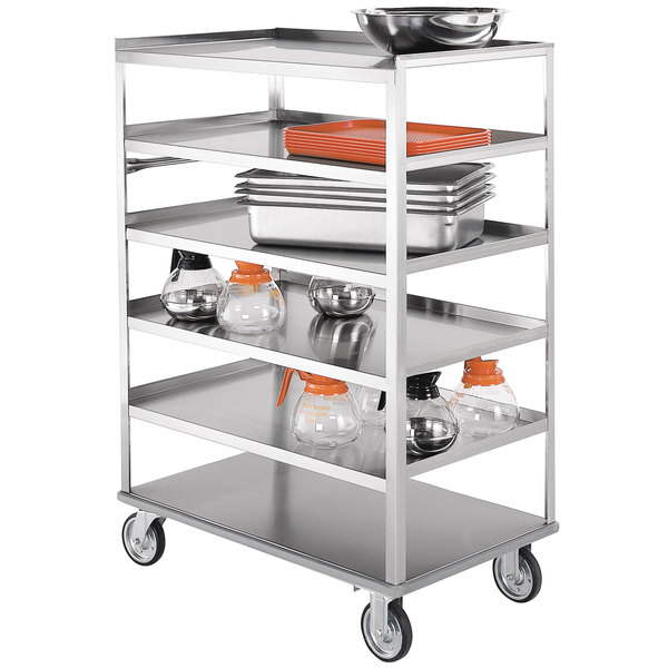 "Lakeside 433 Medium-Duty Stainless Steel Six Shelf Utility Cart with All Edges Down - 36 3/8"" x 22 1/4"" x 50 3/8"""