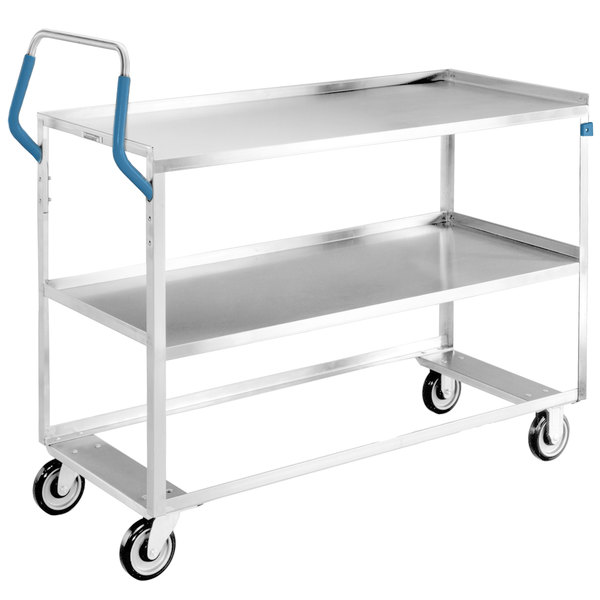 "Lakeside 6830 Medium-Duty Stainless Steel Two Shelf Ergo-One System Utility Cart - 53 1/8"" x 22"" x 44 3/8"""