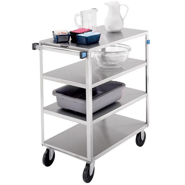 "Lakeside 446 Medium-Duty Stainless Steel Four Shelf Utility Cart with 3 Edges Up and 1 Down - 36 3/8"" x 22 1/4"" x 45 5/8"" Main Image 1"