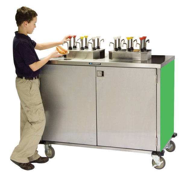 """Lakeside 70210 Stainless Steel EZ Serve 6 Pump Condiment Cart with Green Finish - 27 1/2"""" x 50 1/4"""" x 47"""""""
